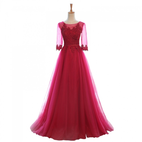 New Style Simple Long Style Lace Applique Bridesmaid Dresses BZ09
