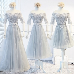 Lace Tulle  Short Style Silver Bridesmaid Dresses BZ15