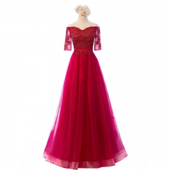 New Style Simple Long Style Lace Applique Beading Bridesmaid Dresses BZ08
