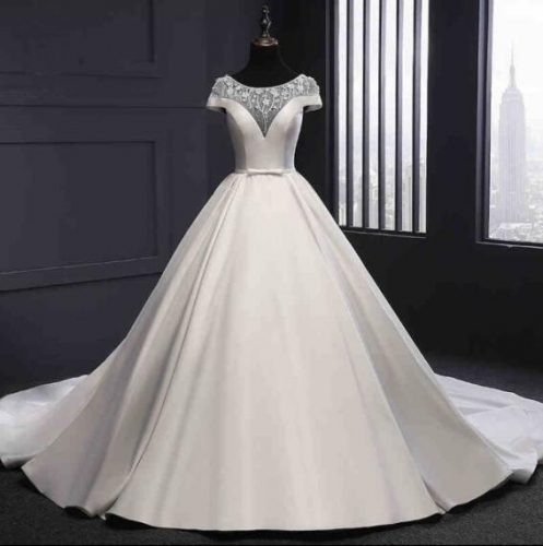 2018 New Style Robe De Mariage Vintage Satin Beaded A-line Wedding Dress Bridal Gown WZ57