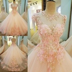 Custom Ball Gown Pink Blue Puffy Quinceanera Prom Dress B88