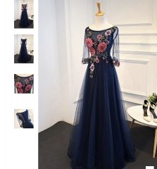 Navy blue Evening Dress H180606