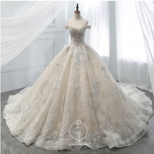 Off Shoulder Wedding Dress Custom Lace Glitter Bridal Ball Gown LB1906