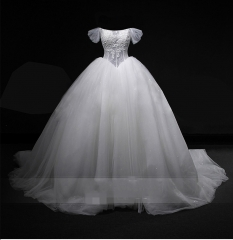 Lace Bridal Ball Gowns Off Shoulder Glitter Tulle Lace Wedding Dresses LB1903