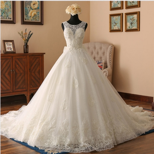 Sleeveless Bridal Ball Gowns Lace Dots Tulle Beaded Wedding Dress LB1902