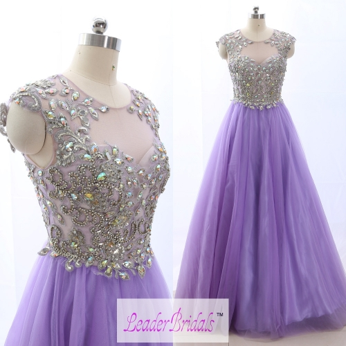 New Style Party Dress Cap Sleeves Applique Beading Prom Dresses PZ20