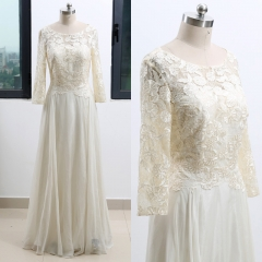 Custom Made Long Sleeves Ivory Lace Chiffon Pleat Evening Dress EZ33