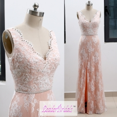 Custom Made Double Straps V-neck Pink Lace Beading Backless Evening Dress EZ31