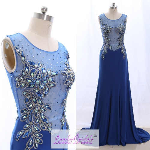 Custom Made Double Straps Royal Blue Beading Evening Dress EZ30