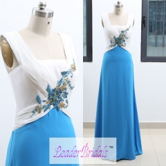 Custom Made Double Straps White Blue Chiffon Pleat Beading Backless Evening Dress EZ32