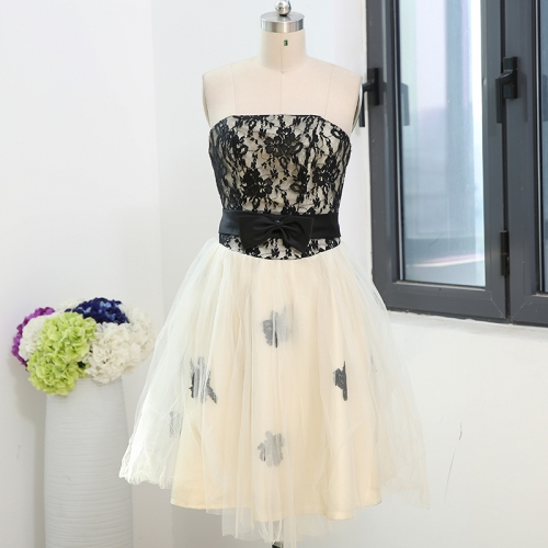 Short Style Black Lace Satin Cocktail Dress CZ06