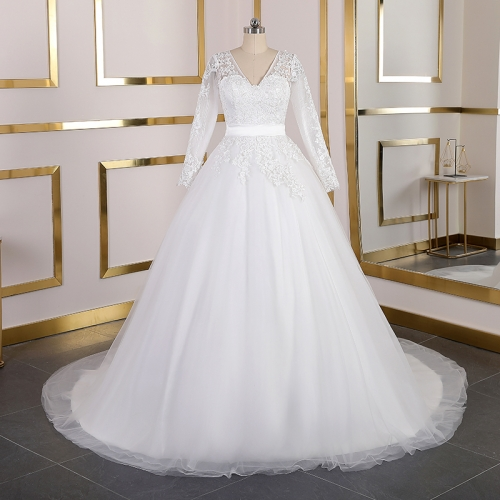 Real Photos Long Sleeves Lace Wedding Dresses V Neck Court Train Wedding Gowns Bridal Gowns Lace Up Plus Size Vestido De Noiva WB40
