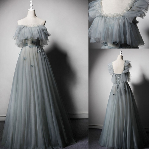 Square Collar Neckline Green Gray Tulle Sleeveless Evening Dress with Butterfly Flower Lace-up A-line Prom Dress EZ37