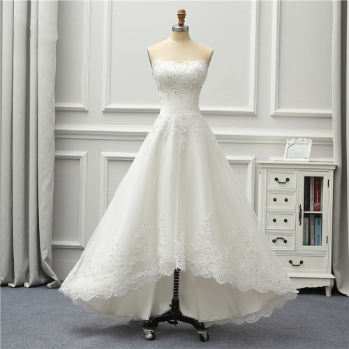Short Front Long Back Wedding Dresses 2019 New Arrival High Low Wedding Gowns Beach Bridal Gown Robe De Mariage Vestido De Noiva