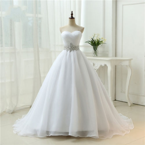 Hot Sale White Vestido De Noiva 2019 New Design A line Perfect Belt Robe De Mariage Strapless Lace Up Wedding Dresses WB39
