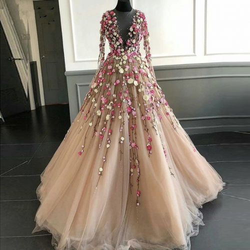 Pretty Champagne Evening Dresses With Illusion Full Sleeves Coloful 3D Flower A-line Tulle Prom Gowns Formal Dress Abendkleider  E34