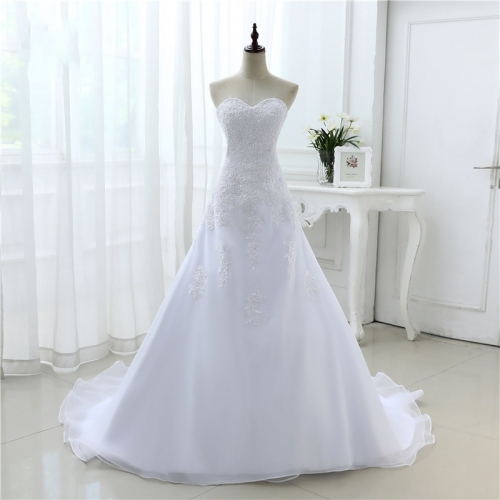 2020 New Arrival Hot Wedding Dresses Elegant Organza Applique Beading Vestidos De Novia Plus Size Beach Bridal Gowns AZ01