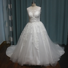 Hot Sale Wedding Dress Sleevless Lace Appliques Tulle Bridal Ball Gown H201838