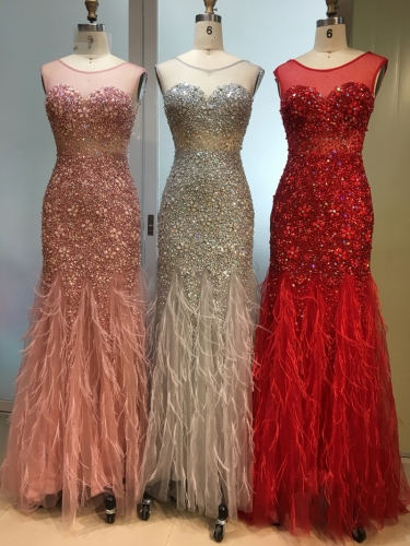 New Arrival Long Evening Dresses 2020 Short Sleeves with Beaded Feather Floor Length Mermaid Party Dress Gowns for Woman EZ36
