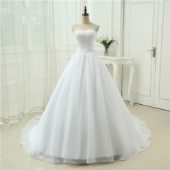 New Arrival Cheap Vestido De Noiva A Line Sweetheart Organza Robe De Mariage Gown Vintage Plus Size Wedding Dresses WB41
