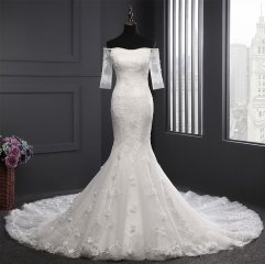 New Style Satin Tulle Lace Wedding Dress Strapless Applique Beaded Mermaid Bridal Dress WZ52