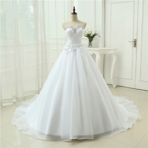 New Best Quality Vestido De Noiva Robe De Mariage A Line Organza Bridal Gown Sweetheart Ruffles Wedding Dress  WB43