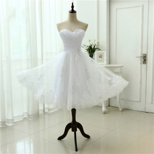 Beach Tea Length Wedding Dress Sweetheart White Appliques Lace Vestido De Novia Robe De Mariee Short Wedding Dresses WZS02