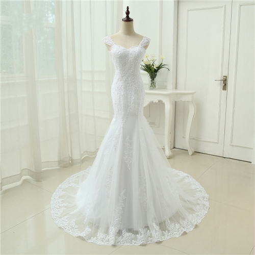 Sexy Vestidos De Novia Mermaid Robe De Mariage Tulle With Lace Detachable Straps Long Wedding Dresses  WZM03