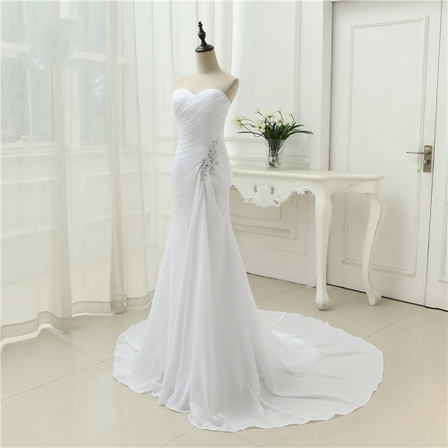 2020 New Arrival Vestido De Noiva Robe De Mariage Bridal Dress Mermaid Trumpet Chiffon Wedding Dresses Plus Size  AZ04