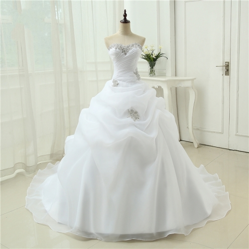 Hot Sale New Arrival Vestido De Noiva A Line Bridal Gown Beading White Ivory Wedding Dress  Robe De Mariage Casamento WB45