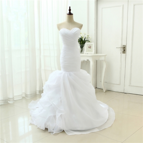 White Organza Simple Elegant Mermaid Wedding Dresses Vestidos De Noiva Robe De Mariage Bridal Dress  Casamento WZM02