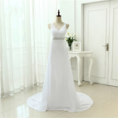 Chinese Hand Made Beading Wedding Dress Chiffon Low Back Sexy Applique Lace Beach Vestidos De Novia Robe De Mariage  AZ08