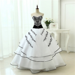 Vestidos De Noiva Hot Sale  New Arrival Wedding Dresses Classical A line White Black Women's Vintage Ball Gown WB42