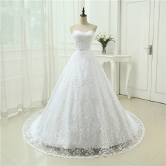 Vestido De Noiva Free Shipping New Design Backless Casamento A line With Train Robe De Mariage Lace Wedding Dresses WB46
