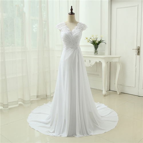 New arrival Wedding Dress Elegant Applique Dress Chiffon Beading Vestidos De Novia Plus Size Beach Bridal Gowns  AZ05