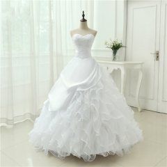 Classic Style Vestidos De Noiva A Line Robe De Mariage Strapless Applique Bridal Gown Wedding Dress Chapel Train  WB44