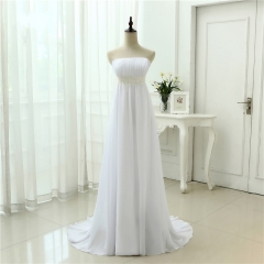 Strapless Wedding Dress  Empire Suit Pregnant Women Vestidos Chiffon Casamento White Ivory Long Wedding Dresses WEZ01
