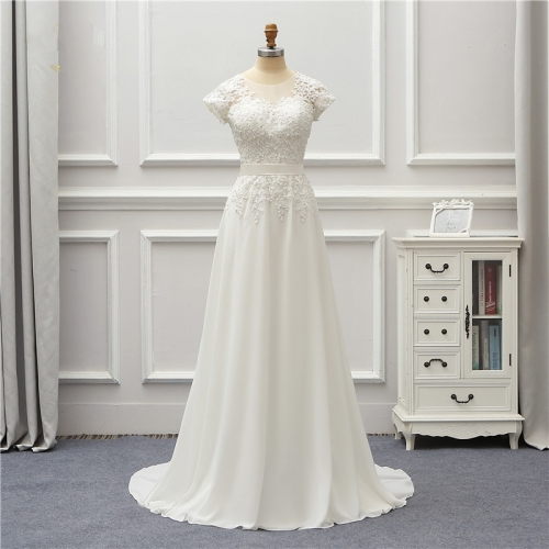 Chiffon Wedding Dress  Short Applique Lace Robe De Mariage  Vestido De Noiva Brida Dresses Wedding Gown  AZ07
