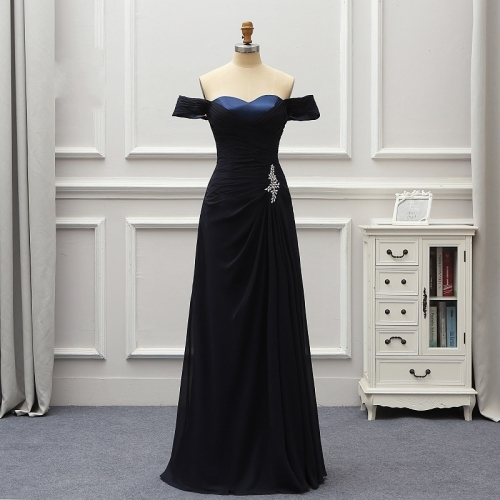 Robe De Soiree Elegant Evening Dresses Long Party Dress Off The Shoulder Navy Blue Vestido De Festa Longo Abendkleider  EZE02
