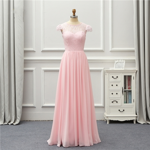 Formal Evening Dress 2020 Pink Short Sleeves Lace Chiffon Party Gown Robe De Soiree Vestido De Festa EZE10