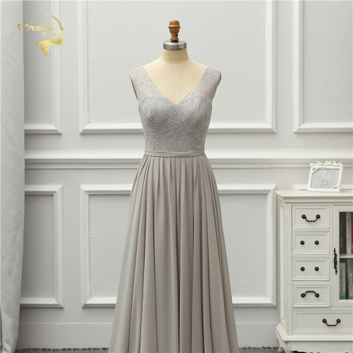 Formal Evening Dress Lace Chiffon New Arrival V Neck Elegant Party Robe De Soiree Vestido De Festa EZE08