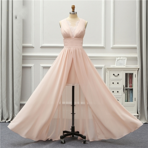 Formal Long Evening Dress Pink Lace Chiffon Open Leg Robe De Soiree Vestido De Festa EZE11
