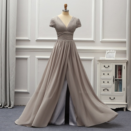 Grey Cap Sleeves Backless 2020 Fashion Evening Dresses Vestido De Festa Longo Party Formal Dresses Mariage Brides Gown EZE03