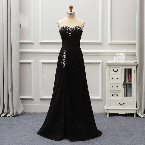 Vestidos De Fiesta De Noche Black Lace Evening Dresses Vestido De Noiva 2019 Crystal Robe De Soiree Women Formal Dresses EZE01