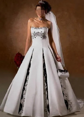 Ancient A-Line Bridal Wedding Dresses Color Accent Embroidery Wedding Gown L04