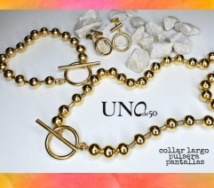 ZQ200513- BU0120E-G Stainless steel UNO de 50 earring + bracelet + necklace