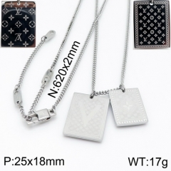 YA200703-LVXL009S 316 stainless steel LV necklace