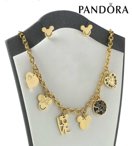 HY200710-W4649BG Stainless steel pandor*a necklace+earring