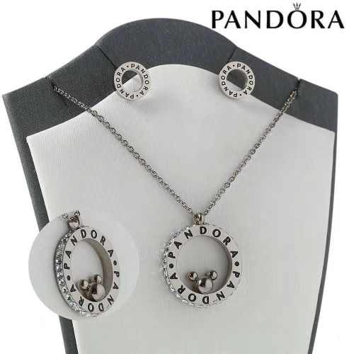 HY200710-W4649AG Stainless steel pandor*a necklace+earring