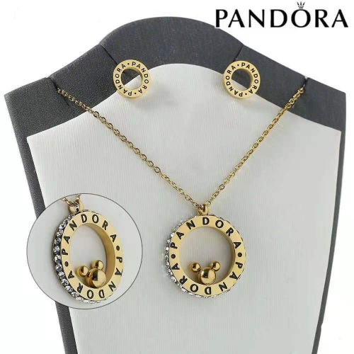 HY200710-W4649AS Stainless steel pandor*a necklace+earring
